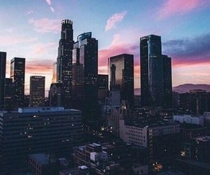 city, sky, and sunset image
