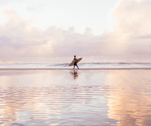 surf, sea, and sunset image