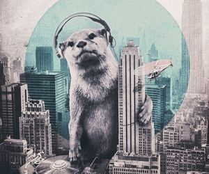 city, art, and otter image