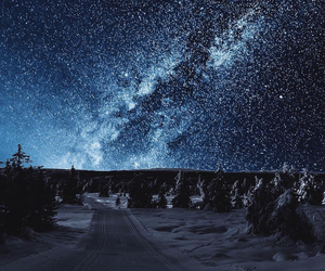 snow, landscape, and stars image