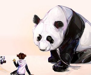 art, panda, and black and white image