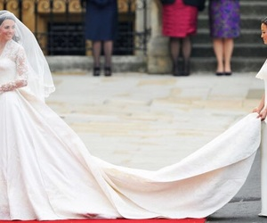 kate middleton, dress, and wedding image