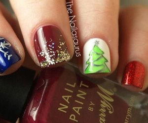 christmas, nails, and fashion image