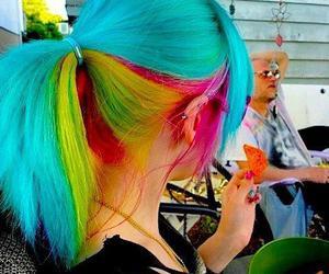 hair, blue, and rainbow image