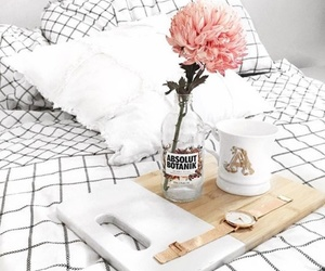 flowers, bed, and white image