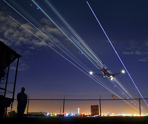 airplane, night, and photography image