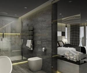 bathroom, bedroom, and black image