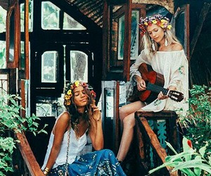 bohemian, flowers, and gypsy image