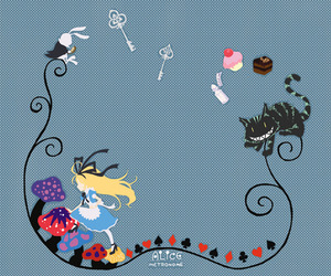 alice in the wonderland, illustration, and bunny image