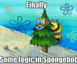 spongebob, logic, and funny image