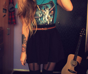 girl, tattoo, and guitar image