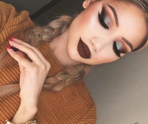 blonde, burgundy, and eye makeup image