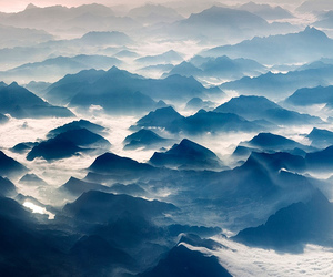 mountains, fog, and clouds image