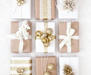 christmas, gift, and gold image
