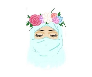 hijab, flowers, and muslim image