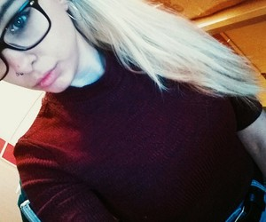 blonde, glasses, and study image