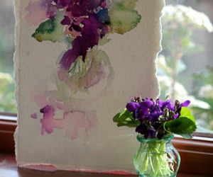 painting, violets, and watercolor image