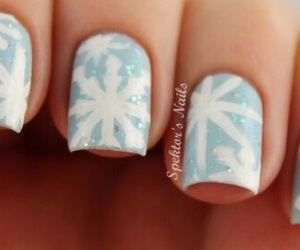 blue, holiday, and snowflake image
