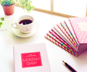 book, coffee, and diary image