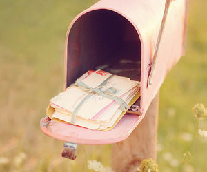 pink, letters, and mail image
