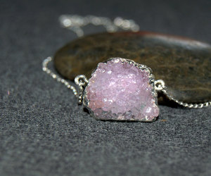 crystal necklace, pink crystal, and quartz necklace image