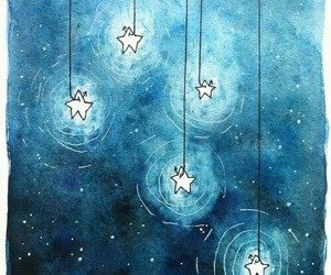 stars, blue, and art image