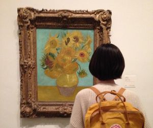 art, girl, and van gogh image