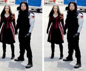 elizabeth olsen, Marvel, and sebastian stan image
