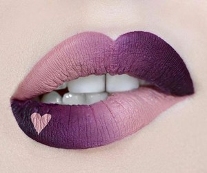 lips, purple, and heart image