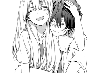crying, anime couple, and cute image