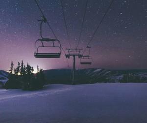 night, snow, and stars image