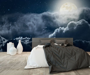bedroom, blue, and clouds image