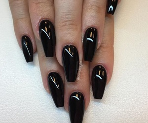 acrylics, black nail polish, and black nails image