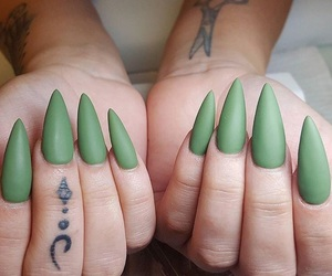 acrylics, green nails, and long nails image