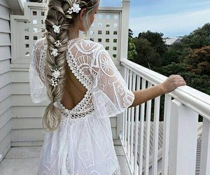 girl blonde, style, and white dress image