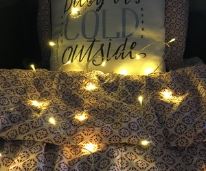 bed, fairylights, and christmas image