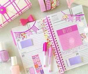pink, planner, and school image