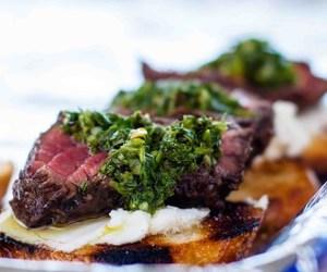 crostini, steak, and chimichurri image