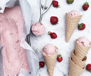 strawberry, food, and ice cream image