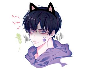 anime, cat, and purple image