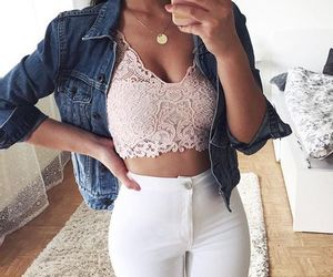 denimjacket, whitejeans, and pinktop image