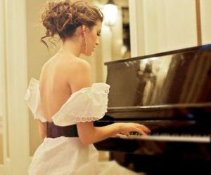 girl, piano, and dress image