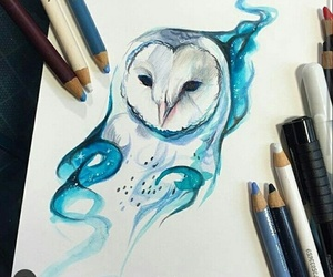 art, owl, and blue image