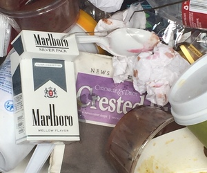 cigarettes, fast food, and trash image