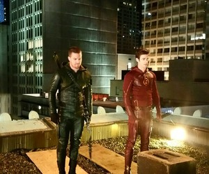 arrow, the flash, and oliver queen image