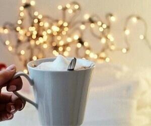coffee, lights, and christmas image