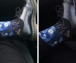 socks, starry night, and van gogh image