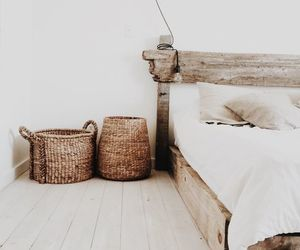 bedroom, white, and wood image