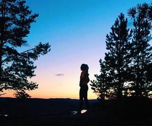 girl, mountain, and sunset image