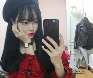 black, ulzzang, and red image